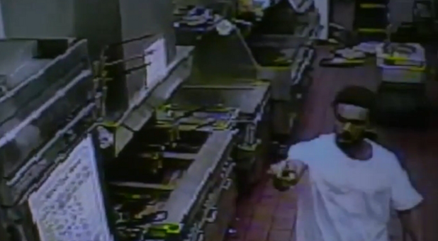 McDonald's surveillance video of robbery suspect Jestin Anthony Joseph.