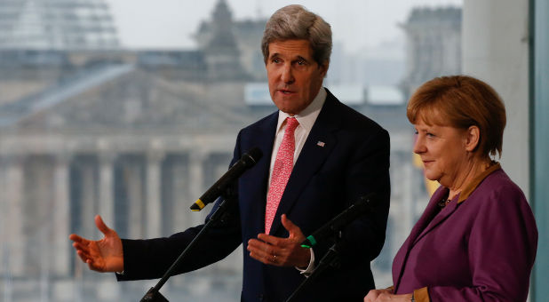 John Kerry and Angela Merkel