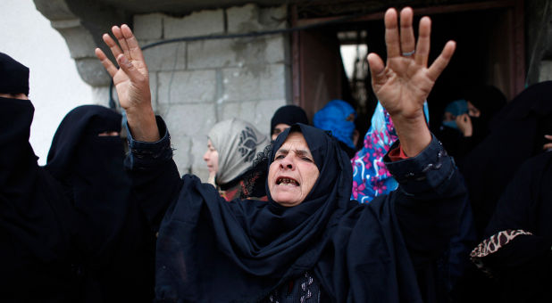 Palestinians at funeral