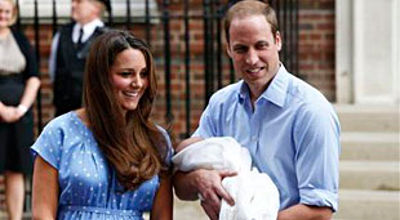 Prince William and Kate with baby