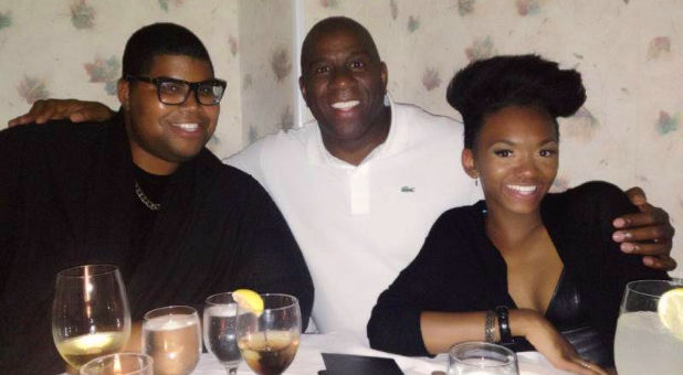 Magic Johnson with children
