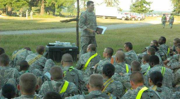 Soldiers and chaplain
