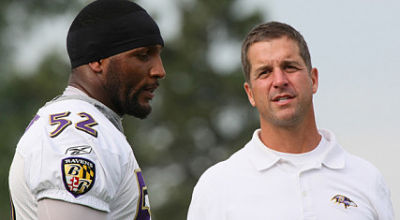 Ray Lewis and John Harbaugh