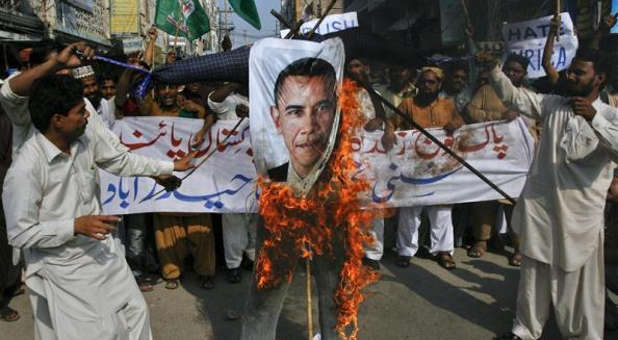 burning Obama picture