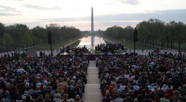 Capital Church hosts an Easter sunrise service each year at the Lincoln Memorial that draws thousands.