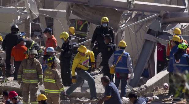 Babies were found under the rubble after a gas tanker exploded by a maternity ward in Mexico City.