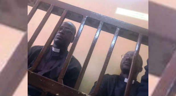Pastors Yat Michael and Peter Yen in court during their trial in Khartoum, 2015