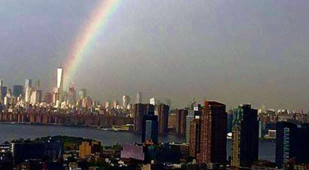 A rainbow over ground zero on the eve of 9/11.