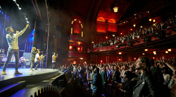 Hillsong Church London holds four services, attended by 8,000 people, every Sunday at the Dominion Theatre. Photo courtesy of Hillsong Church London
