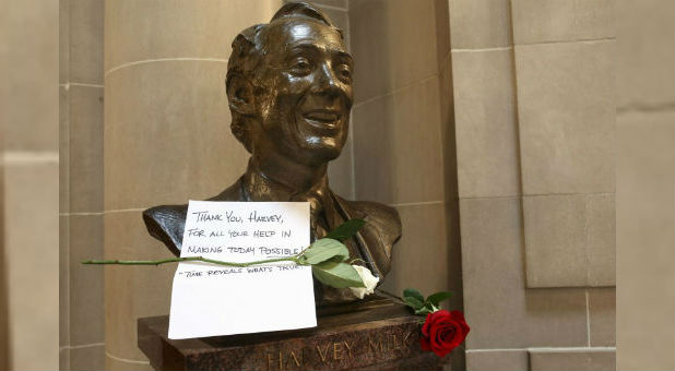 A thank you note and two roses are seen on a bust of former San Francisco Supervisor and gay rights pioneer Harvey Milk in San Francisco City Hall in San Francisco, California