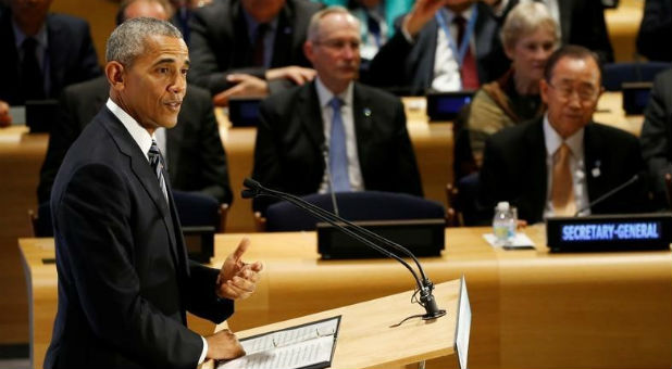 President Barack Obama delivers a speech at the United Nations.