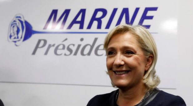 "French far-right party leader Marine Le Pen said on Wednesday that her election as president next year would form a trio of world leaders with U.S. President-elect Donald Trump and Russia's Vladimir Putin that ""would be good for world peace."""