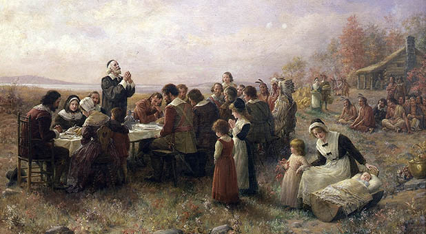 """""""The First Thanksgiving at Plymouth"""" by Jennie Augusta Brownscombe"""
