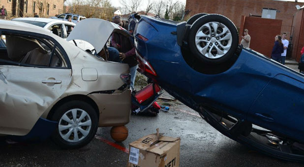 Tornadoes flung these cars into each other at William Carey University in Mississippi.