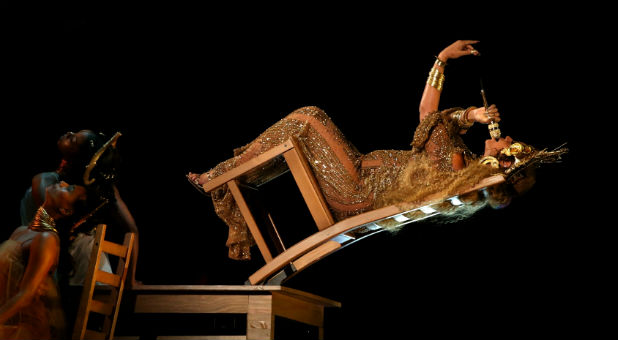 Beyonce (R) performs at the 59th Annual Grammy Awards in Los Angeles