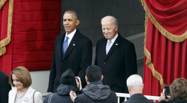 Barack Obama and Joe Biden attend the inauguration ceremonies to swear in Donald Trump as the 45th president of the United States at the U.S. Capitol in Washington