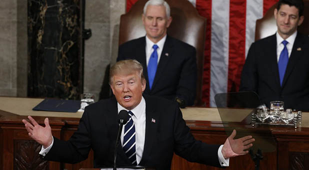 President Donald Trump speaks at a joint meeting of Congress.