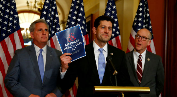 U.S. House Majority Leader Kevin McCarthy, U.S. House Speaker Paul Ryan and U.S. Representative Greg Walden hold a news conference on the American Health Care Act.