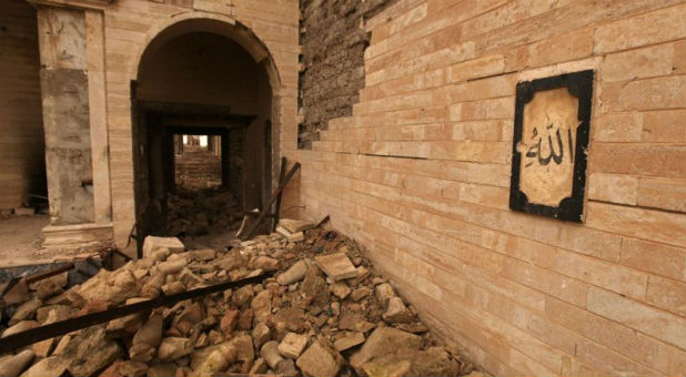 The remains of the Tomb of Prophet Yunus, destroyed by Islamic State militants, in Mosul, Iraq.