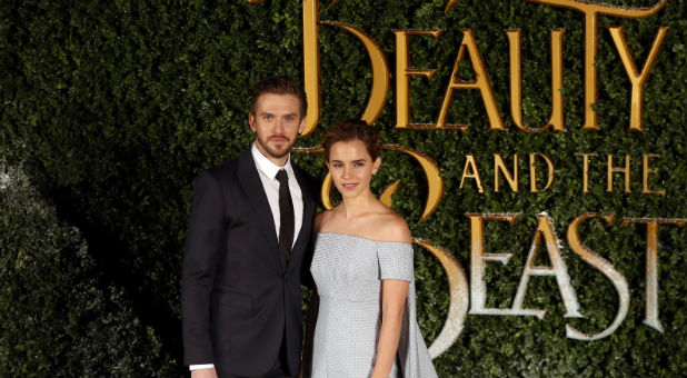 Emma Watson and Dan Stevens at the premiere of 'Beauty and the Beast'