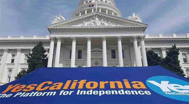 CalExit Banner at California Statehouse