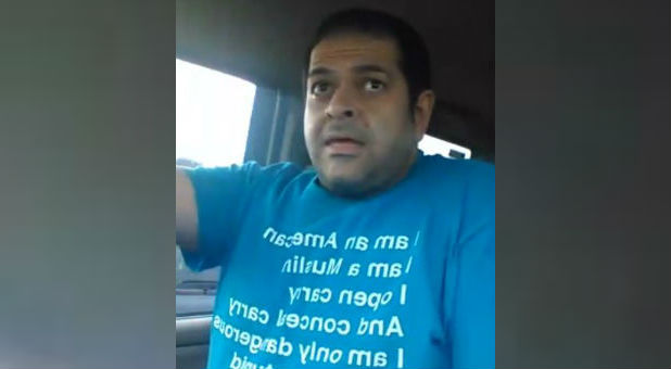 Ehab Jaber ranted about guns in a still from his video.