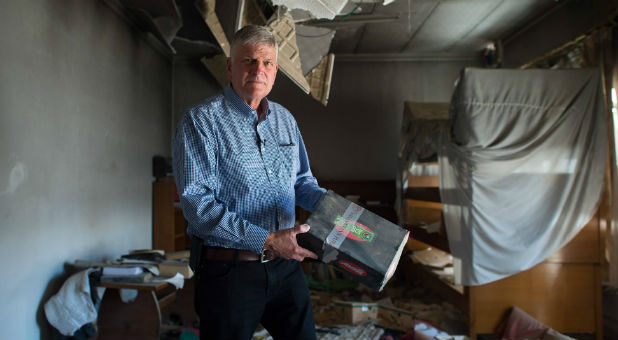 Franklin Graham found an Operation Christmas Child shoebox amid the rubble.