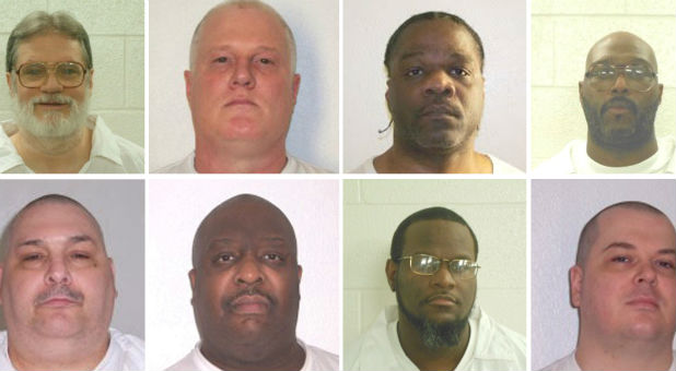 Inmates Bruce Ward (top row L to R), Don Davis, Ledell Lee, Stacy Johnson, Jack Jones (bottom row L to R), Marcel Williams, Kenneth Williams and Jason Mcgehee are shown in these booking photo.