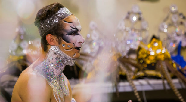 Participant prepares to perform in a drag queen competition during carnival festivities in Las Palmas, on the Spanish Canary Island of Gran Canaria.