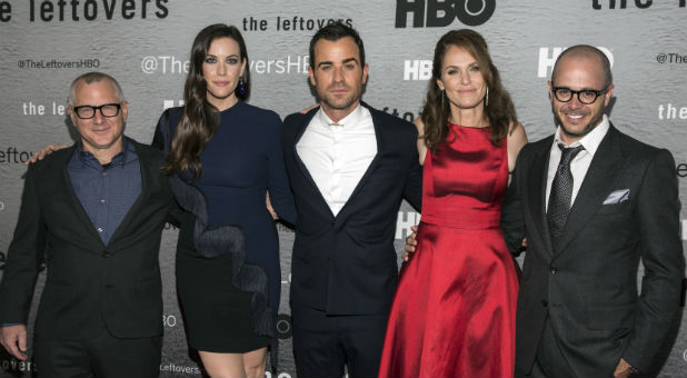 """(L-R) Show creator Tom Perrotta, actors Liv Tyler, Justin Theroux and Amy Brenneman and show creator Damon Lindelof attend the NY Season Premiere of HBO's """"The Leftovers."""""""