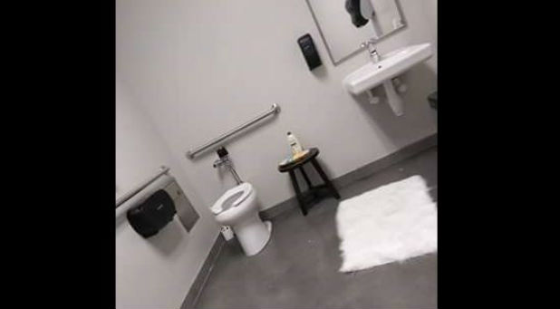 Amanda Zilliken says a volunteer escorted her to this restroom while she was breast-feeding during the service.