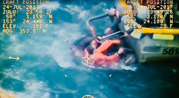 Only moments after Trosvig dove into the water, a US Coast Guard MH-60 Jayhawk helicopter arrived at the scene capturing the rescue on video.