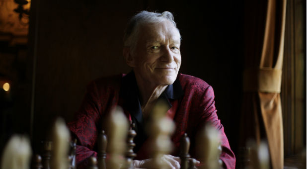 Hugh Hefner at his Playboy mansion, July 2010.