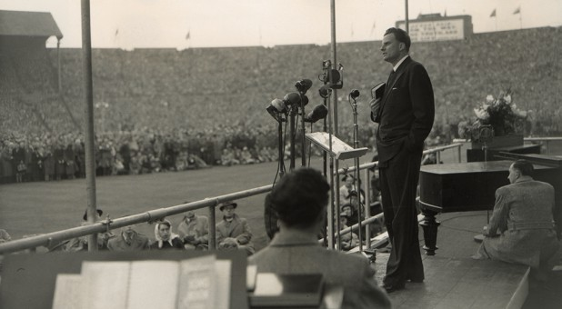 Billy Graham at a crusade in London.