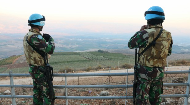 U.N. peacekeepers of the United Nations Interim Force in Lebanon (UNIFIL) are seen in Kfar Kila village near the Lebanese-Israeli border.