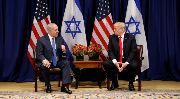U.S. President Donald Trump meets with Israeli Prime Minister Benjamin Netanyahu in New York.