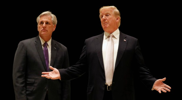 U.S. President Donald Trump speaks as he and House Majority Leader Kevin McCarthy.