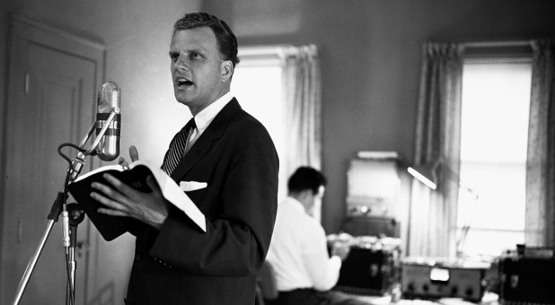 Billy Graham and Cliff Barrows recording The Hour of Decision for the radio in 1959.