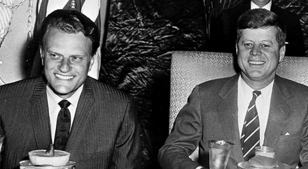 Billy Graham, left, with President John F. Kennedy Jr.