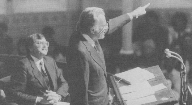Billy Graham, right, preaches for R.T. Kendall, left.
