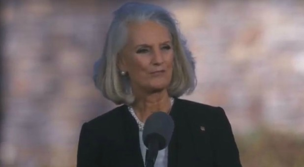 Anne Graham Lotz preaches at her father Billy Graham's funeral.