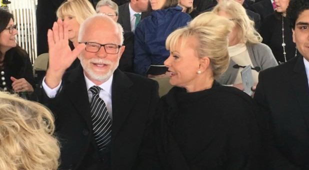 Jim and Lori Bakker at Billy Graham's funeral.