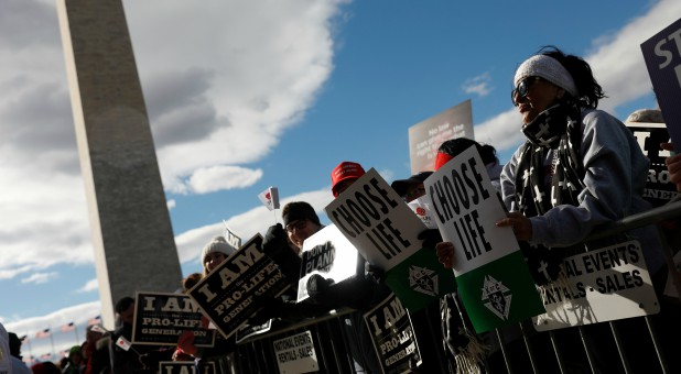 Pro-life activists gather for the National March for Life rally in Washington, DC.