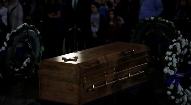 The casket of the late evangelist Billy Graham is seen as he lies in honor at the U.S. Capitol in Washington.