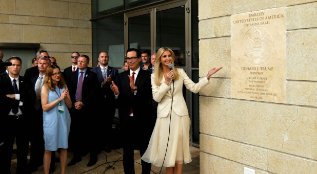 Senior White House Adviser Ivanka Trump and U.S. Treasury Secretary Steven Mnuchin stand next to the dedication plaque at the U.S. embassy in Jerusalem, during the dedication ceremony of the new U.S. embassy in Jerusalem.