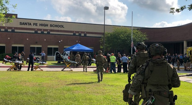 Law enforcement officers are responding to Santa Fe High School following a shooting incident in this Harris County Sheriff office, Santa Fe, Texas.