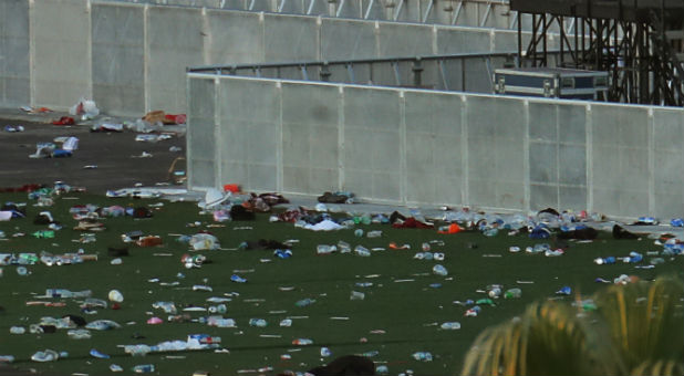 Personal belongings lay tossed aside on the fairgrounds following the mass shooing at the Route 91 Harvest Country Music Festival on the Las Vegas Strip.