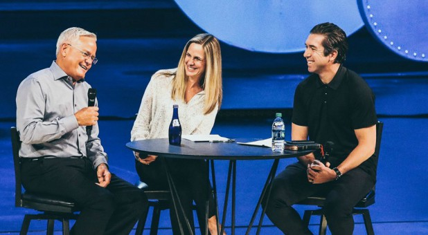 Bill Hybels with Heather Larson and Steve Carter.
