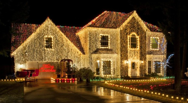 The Morris family decorates their home and property with more than 200,000 lights in Hayden, Idaho.