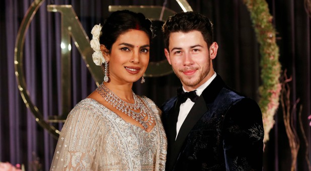 Nick Jonas with his wife, Priyanka Chopra.